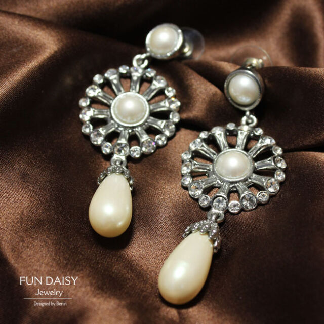Boucles d'Oreilles Clous Perle Goutte Vintage Ancien Style Cadeau Chic BB 5
