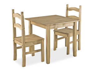 Corona Dining Kitchen Table Set Mexican Rustic Pine Small Square Top Two Chairs Ebay