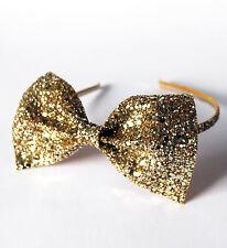 Gold Glitter Bow Headband, Party Headband, Christmas Hairband