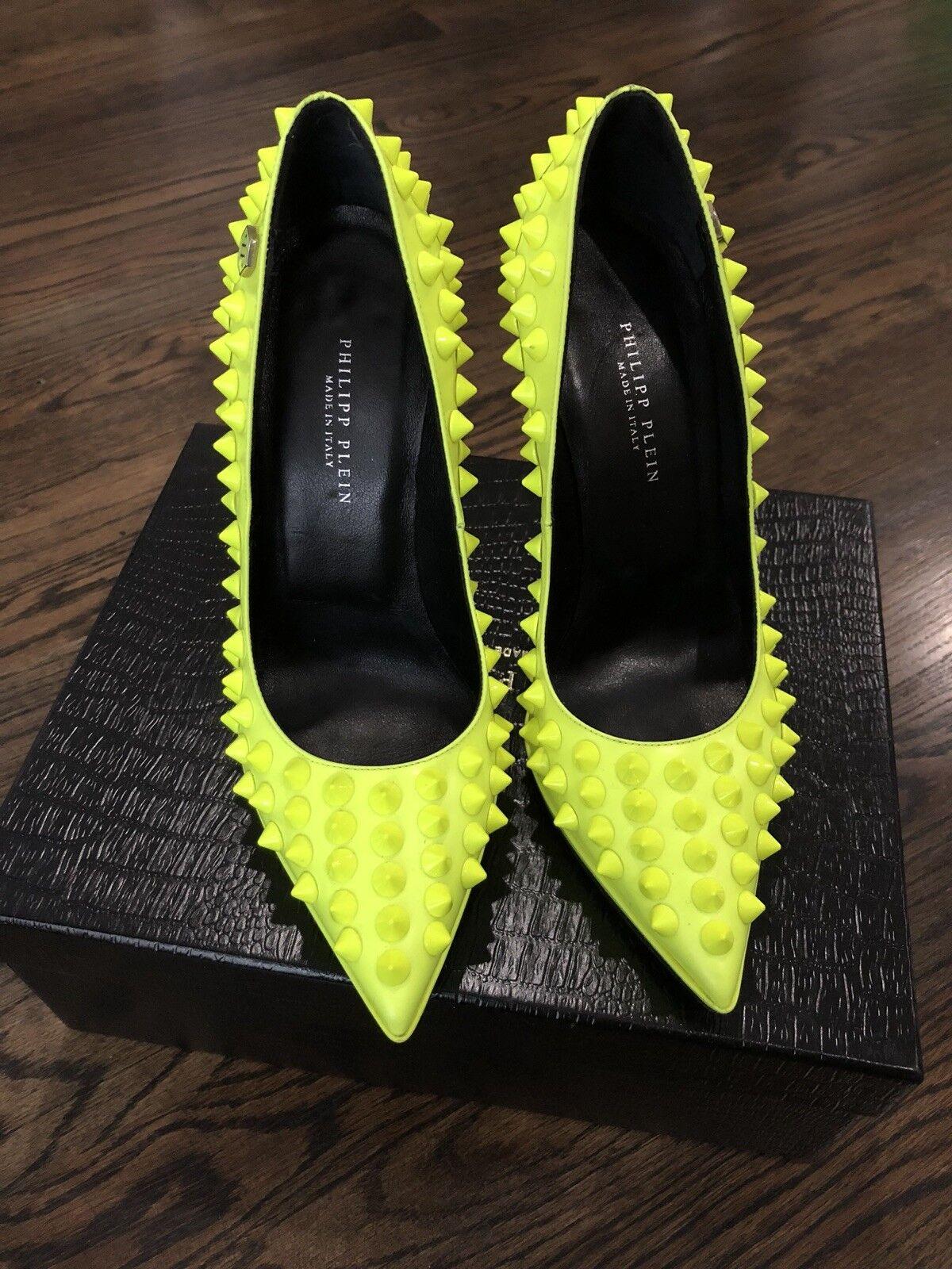 Philipp Philipp Philipp Plein  1495 Authentic Neon jaune High Heels Pop Studed Pumps Taille 37 7afc1e