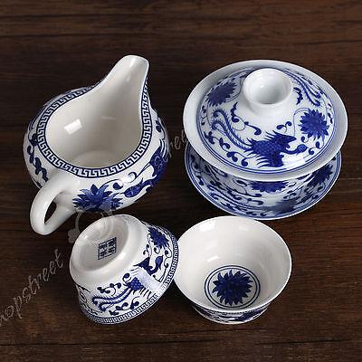 NEW 4pcs Chinese Porcelain Blue phoenix Gaiwan Pitcher Chahai teacup cup tea set