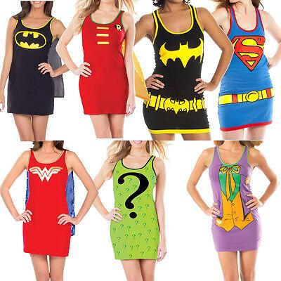 DC Comics Superhero Womens Tank Dress Costume (Choose Your Character) Sexy Tunic