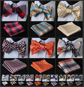 ECB-Check-Men-Silk-Woven-Party-Pocket-Square-Self-Bow-Tie-Handkerchief-Set