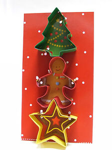 Details About 3 Piece Cookie Cutter Set Christmas Tree Gingerbread Man Star Use As Ornament