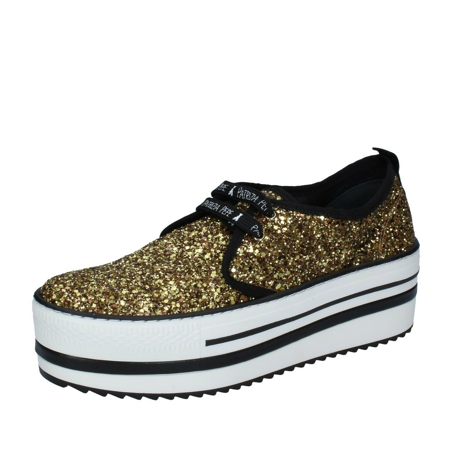 Chaussures Femmes PATRIZIA PEPE 7 (UE 37) Baskets or Glitter Textile BS242-37