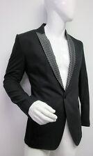 New Dolce & Gabbana Men's Diamond Detail Black  Blazer Jacket 48 US 38