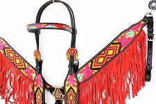 PINK RED BEADED FRINGE WESTERN LEATHER HORSE BRIDLE HEADSTALL BREASTCOLLAR TACK