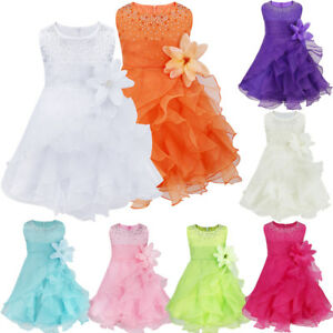 Flower Girls Baby Princess Baptism Dress Wedding Party Pageant Tutu Tulle Dress
