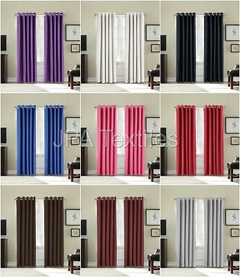 Pair of Luxurious Thermal Blackout Ready Made, Eyelet, Ring Top Curtains