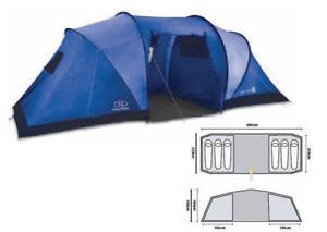 HIGHLANDER-Tourist-Tent-6-persons-Ultralight-Camping-CYPRESS-Blue