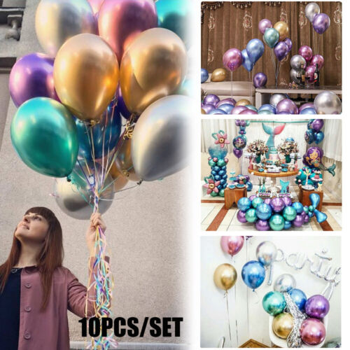 """10pcs 12/"""" Metallic Latex Thick Balloons Inflatable Glossy Wedding Party Decor"""
