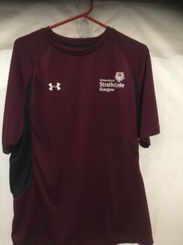 Under Armour University Of Strathclyde Ladies and Men/'s  Burgundy T-shirt NEW