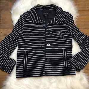 Talbots striped knit blazer jacket navy blue size small petite womens SP