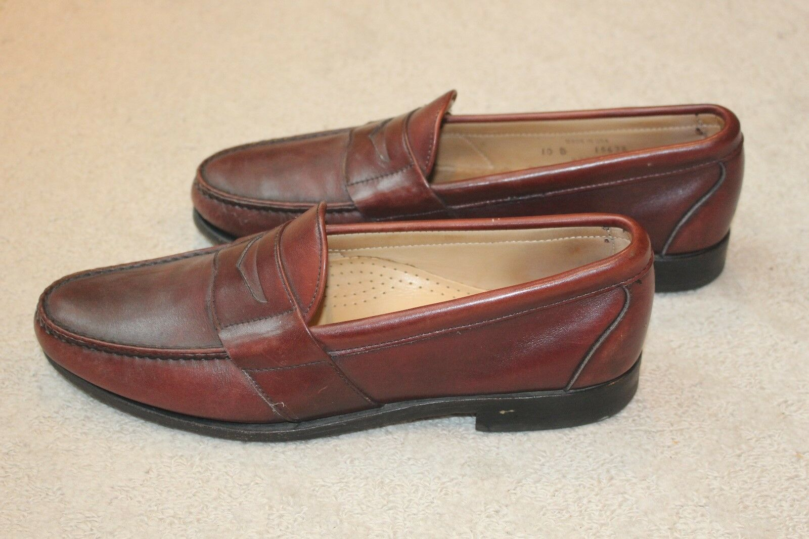 Allen Edmonds Cameron Burgandy Oxblood Penny Loafers Slip On Size 10 B Leather