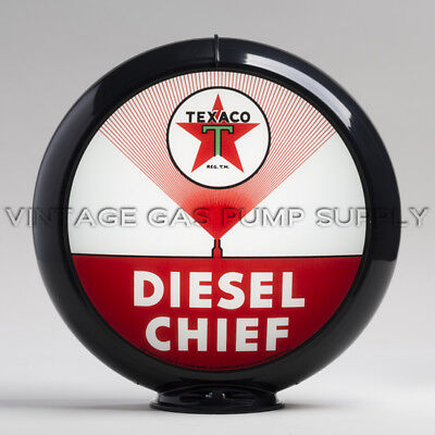 "G195 Texaco Fire Chief 13.5/"" Gas Pump Globe w// Black Plastic Body"