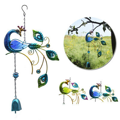 46cm*24cm Peacock Iron Colorful Glass Wind Chime Hanging Home Decoration