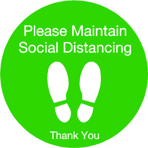 Social distancing floor stickers with non slip laminate pack of 5