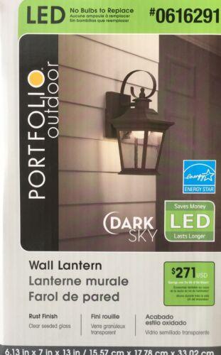 Portfolio 13-in H Rust Dark Sky LED Outdoor Wall Light Lantern LOT OF 2