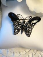 Vintage Sterling Silver Onyx & Marcasite Butterfly Pin Brooch