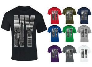 Mens-New-York-City-Skyline-Photo-NY-Letters-T-shirt-S-XXL