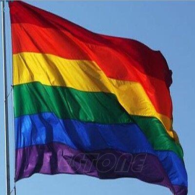 NEW 90x150cm 3x5 FT Rainbow Flag Polyester Lesbian Gay Pride LGBT