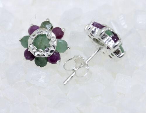 blütenförmige Ohrstecker Rubine Smaragde 925er Silber Dekorative