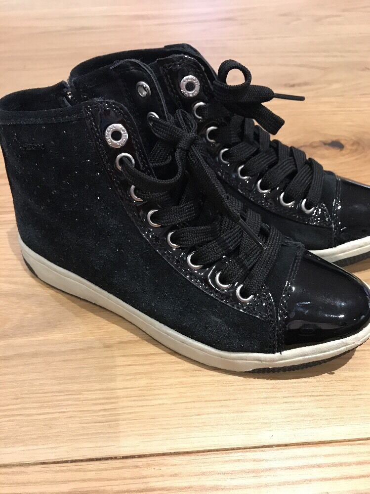 WORN ONCE GEOX LEATHER Black Embellished Hi Tops Size 3