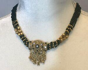 ethnic-beaded-necklace-16-26-adjustable-beads-wood-twine-green-brown-Boho