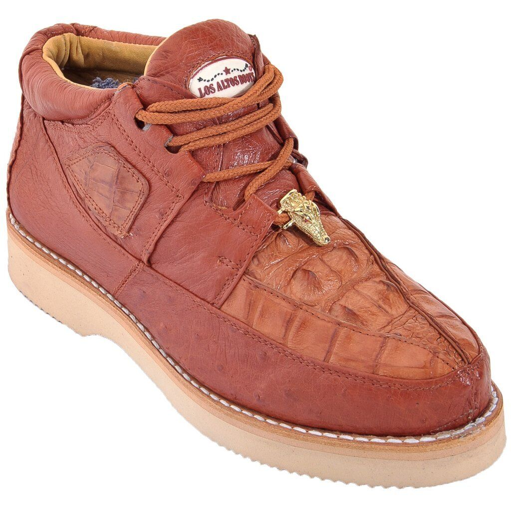 Men's Los Altos Genuine Caiman With Smooth Ostrich Lace Up Casual shoes Handmade