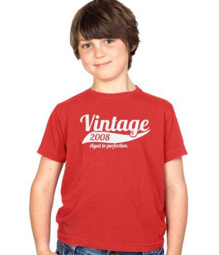 VINTAGE 2008 8th Compleanno Bambino Regalo Regalo Festa Bambini Ragazzi e Ragazze T-Shirt