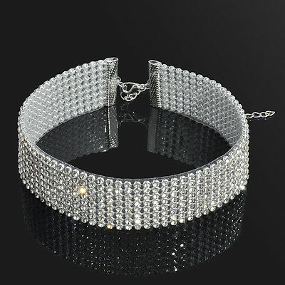 Women's Full Diamond Crystal Rhinestone Choker Collar Necklace Wedding Jewelry
