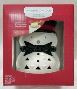 Yankee-Candle-Scenterpiece-Warmer-JACK-FROST-Snowman-Melt-Cup-Timer-Red-Hat-Tie