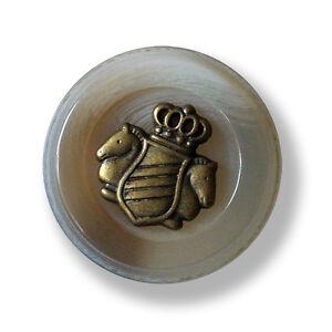 5594gr 3 noble grau melierte Kunststoff Ösen Knöpfe mit Wappen Applikation