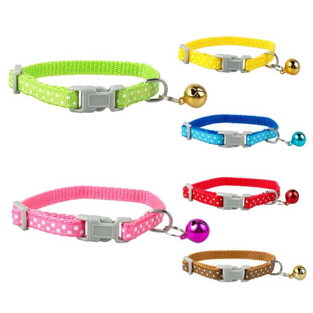 Didog 3pcs Nylon Dots Print Small Puppy Dog Cat Kitten Kitty Collars with Bell