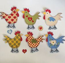 Happy Hens! Our NEW! Calico Chickens- Iron On Fabric Appliques