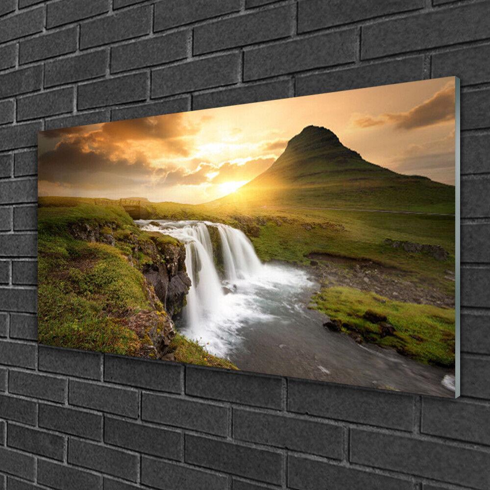 Tableau sur verre Image Impression 100x50 Nature Chute D'eau De Montagne