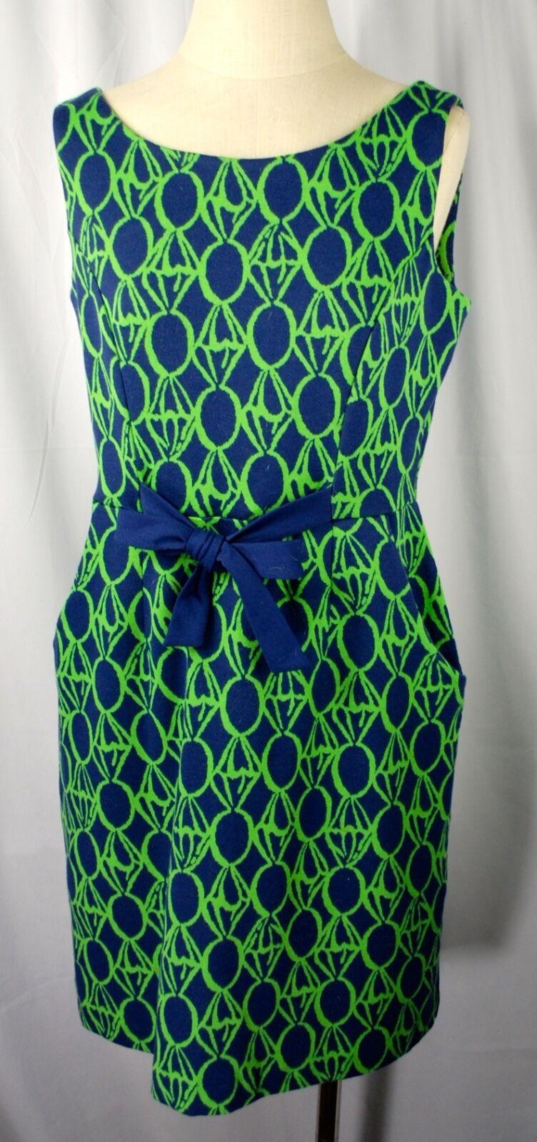 Lilly Pultizer Navy Grün Geometric Print Belted Dress  damen Größe M