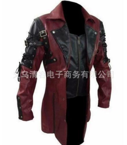 Mens Steampunk Gothic Leather Trench Coat Jacket Goth Punk Coat Metallic M-5XL