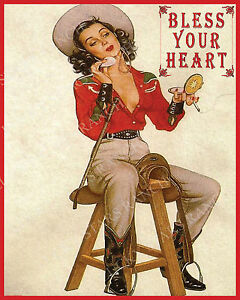 BLESS-YOUR-HEART-16X20-VINTAGE-COWGIRL-PRINT