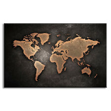 Unframed Abstract World Map Black Wall Art Modern Global Map Canvas Print Large