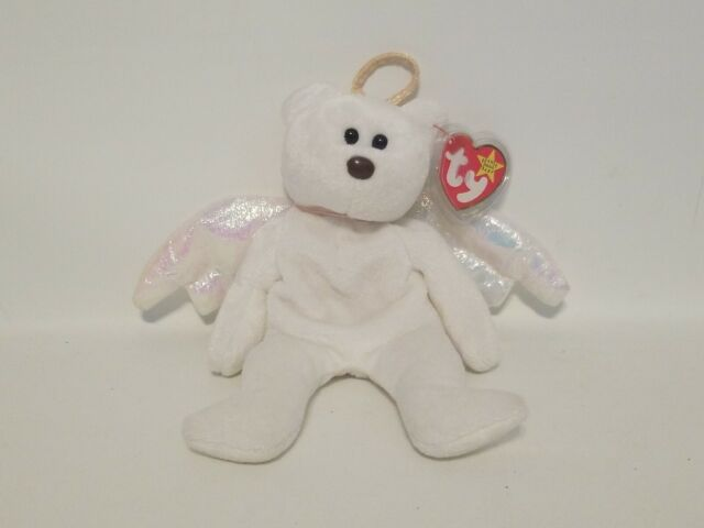 Ty Beanie Baby HALO the Angel Bear with Tag ErrorsBrown Nose Black Eyes Black