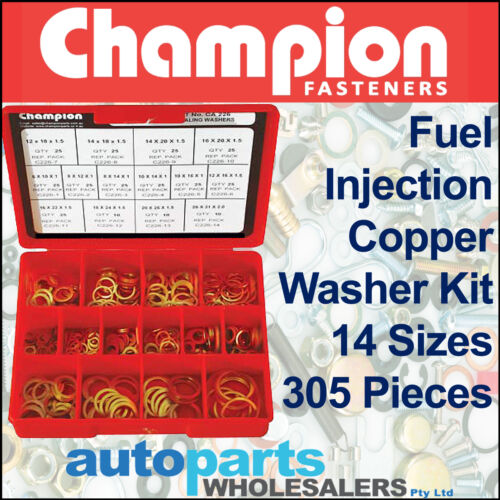 305 Pieces CHAMPION FUEL INJECTION EFI COPPER WASHERS METRIC ASSORTMENT KIT