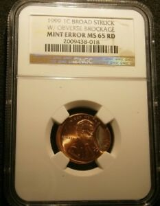 1999-Lincoln-cent-Error-broadstruck-with-brockage-Certified-NGC-MS65RD