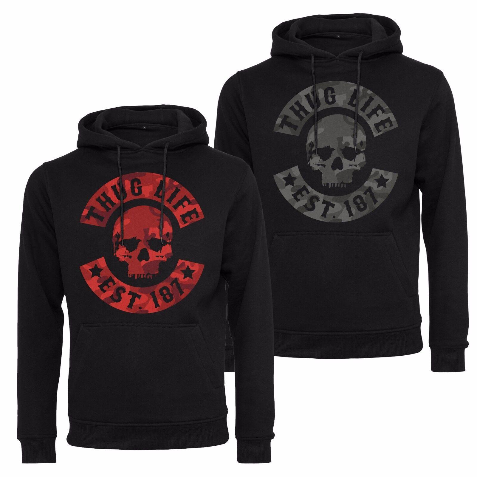 Thug Life Skull Camo Hooded Sweatshirt Jumper Hoodie S-XXL Tl004