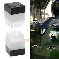 Solar Powered Fence Post Pool LED Square Light Outdoor Garden Yard Walkway Lamp