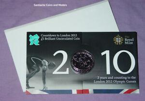 2010 ROYAL MINT LONDON OLYMPICS SPECIMEN COUNTDOWN £5 CROWN IN FOLDER
