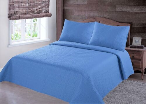 23PC LIGHT BLUE NENA BEDSPREAD QUILT SET COVERLET STIPPLING STITCHE IN 4 SIZES