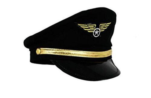 Deluxe High Quality Black Airline Pilot Hat Cap Men Captain Fancy Dress Accesory