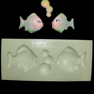 Image Is Loading Plastic Mold 2 Fish W Bubbles Wall Plaque