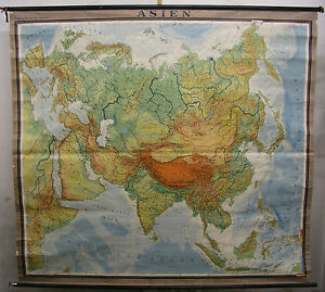Schulwandkarte Asien Asia China F&B~1960 208x190cm vintage and very on